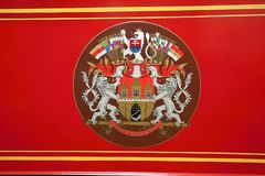 Coat of arms of Prague city on the historic tramway. Car Royalty Free Stock Image
