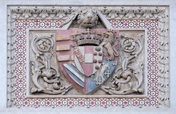 Coat of arms of prominent families, Florence Cathedral. Coat of arms of prominent families that contributed to the facade, Portal of Cattedrale di Santa Maria Stock Photo