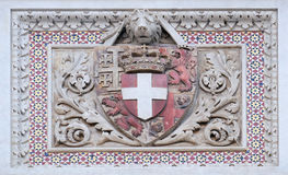Coat of arms of prominent families, Florence Cathedral. Coat of arms of prominent families that contributed to the facade, Portal of Cattedrale di Santa Maria Royalty Free Stock Images