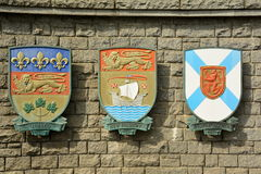 The Coat of Arms for the Provinces of Quebec,New Brunswick and Nova Scotia Canada. Royalty Free Stock Photo