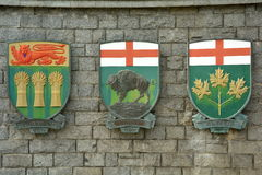 The Coat of Arms for the Provinces of Saskatchewan,Manitoba and Ontario,Canada. Each Canadian province has its own coat of arms and these  ones belongs to Royalty Free Stock Image