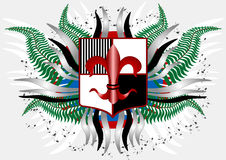 Coat of arms with a red lily. Banner. Illustration Royalty Free Stock Photos