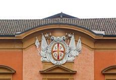 Coat of arms of Reggio Emilia. Reggio Emilia coat of arms with the acronym SPQR. Northern Italy Stock Photo