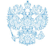 Coat of arms of Russia with blue pattern in traditional folk style Gzhel. Royalty Free Stock Photography