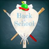 Coat of arms with school supplies. EPS 10 Royalty Free Stock Photo