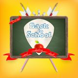 Coat of arms with school supplies. EPS 10 Stock Image