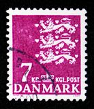 Coat of arms, serie, circa 1978. MOSCOW, RUSSIA - FEBRUARY 10, 2019: A stamp printed in Denmark shows Coat of arms, serie, circa 1978 royalty free stock images