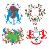 Coat of arms set - funny drawings design. With flowers, animals Stock Image