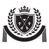 Coat of arms - shield with crown, arrows, laurel wreath  Royalty Free Stock Image