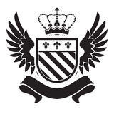 Coat of arms - shield with crown, fleur-de-lis, two wings  Royalty Free Stock Photography