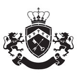 Coat of arms - shield with crown, key and arrow, two standing li Stock Photos