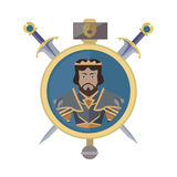 Coat of Arms Shield with Swords Illustration. Coat of arms shield with swords and hummer vector. Flat style. Cold weapon and armor with king portrait Stock Photography