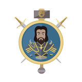 Coat of Arms Shield with Swords Illustration. Coat of arms shield with swords and hummer vector. Flat style. Cold weapon and armor with king portrait Royalty Free Stock Photos