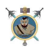Coat of Arms Shield with Swords Illustration. Coat of arms shield with swords and hummer vector. Flat style. Cold weapon and armor with orc portrait Royalty Free Stock Image