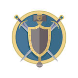 Coat of Arms Shield with Swords Illustration. Coat of arms shield with swords vector in flat style design. Cold weapon and armor game models. Illustration for Stock Photo