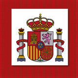Coat of arms of Spain. Icon on red background Royalty Free Stock Photography