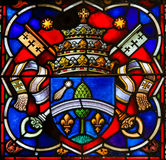 Coat of Arms - Stained Glass in Mechelen Cathedral Royalty Free Stock Photos
