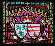 Coat of Arms - Stained Glass in Sablon Church, Brussels Stock Photo