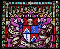 Coat of Arms - Stained Glass in Sablon Church, Brussels Royalty Free Stock Photography