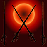 Coat of Arms Sunset Sword Silhouette Royalty Free Stock Photography