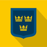 Coat of arms of Sweden icon, flat style Royalty Free Stock Photos