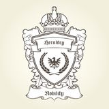 Coat of arms template with heraldic eagle, shield and crown. Coat of arms template with heraldic eagle, shield, crown and banner Stock Photo