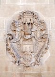 Coat of arms at the town hall in Herrenberg. Detail shot of the coat of arms on the facade of the town hall in Herrenberg, Germany Stock Images