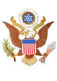 Coat of arms of United States of America. Emblem on seat of the United States of America at the permanent court of arbitration at The Hague, Netherlands, PNG Royalty Free Stock Images