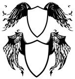 Coat of arms vector. Black and white winged shields illustration Stock Photo