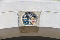 Coat of arms on the wall of a building in Dordrecht. Stock Photography