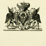 Coat of arms whith griffins. On old paper background Stock Images