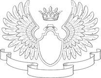 composition with crown swords wings badge and ribbon stock