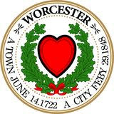Coat of arms of Worcester in United States. Coat of arms of Worcester is a city in, and the county seat of, Worcester County, Massachusetts, United States vector illustration