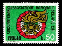 Coat of Bersaglieri, National Bersaglieri Association serie, cir. MOSCOW, RUSSIA - MAY 15, 2018: A stamp printed in Italy shows Coat of Bersaglieri, National Royalty Free Stock Images