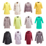 Coat collection on the background. Coat collection on the white isolated background Royalty Free Stock Photos