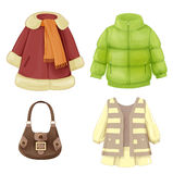 Coat, dress, padded parka and vector illustration