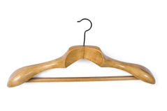 Coat hanger. Massive wooden coat hanger, white background stock photos