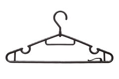 Coat hanger. Black plastic coat hanger isolated on white background Royalty Free Stock Image