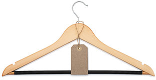 Coat hanger and blank price tag Stock Photography