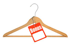 Coat hanger and bonus tag Royalty Free Stock Photo