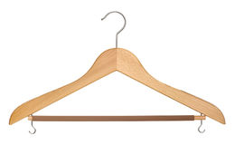 Coat hanger cutout. Wooden coat hanger isolated on white with clipping path Stock Photography