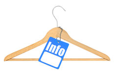 Coat hanger with info tag Stock Image