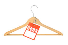 Coat hanger and polish price tag Royalty Free Stock Image
