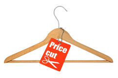 Coat hanger and price cut tag royalty free stock photography