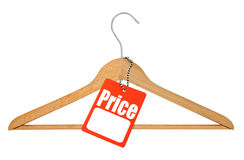 Coat hanger and price tag Royalty Free Stock Image