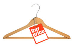 Coat hanger and price tag Royalty Free Stock Photos