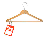 Coat hanger and size tag Stock Photo