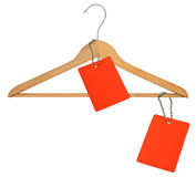 Coat hanger and two blank price tags Stock Images