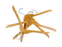 Coat Hangers Sturdy Wood Group on White. Looking down at a stack of ash coat hangers Royalty Free Stock Photo