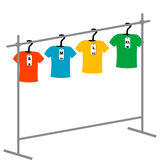 Coat hangers with tags Royalty Free Stock Images